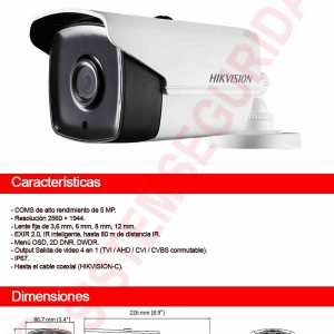 Cámara tubo Hikvision 5MP-DS-2CE16H0T-IT3F